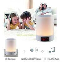 Wholesale Mini Plastic Clocks - Mini Speakers Magic Lamp 2000Mah Hands free call Led Bluetooth Speaker Radio Clock for Quality Life