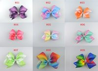 Wholesale Rhinestone Bow Center - 9 Pcs Lot 5 Inch Rainbow Ribbon Full Rhinestone Bow With Clip Bowknot Center With Rhinestone Girls Barrettes Hairgrips Beautiful HuiLin AW09