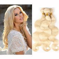 12 613 haarverlängerungen großhandel-Brasilianisches Körper-Wellen-gerades Haar spinnt Doppelschuß 100g / pc 613 russische blonde Farbe kann gefärbt werden Remy Haar-Erweiterungen