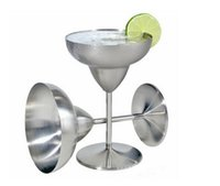 Wholesale Martini Glass Cup - 25gc Cups Double Walled Tumbler Stainless Steel Red Wine Mug Martini Goblet Cup Cocktail Margarita Glass Mugs Fashion