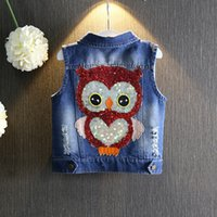 Wholesale wholesale summer jackets - girls outerwear 2017 Autumn girls clothes children Cartoon Owl Appliques Coat Cowboy Waistcoats Medium Length Jacket