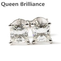 Queen Brilliance Solid 18K 750 White Gold Screw Back 0.84 Carat DEF Color Moissaite Diamond Earrings для женщин 17903