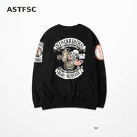 Wholesale Street Punk Tattoos - Japanese Tide Brand West Coast Punk Skull Tattoo Locomotive Ptint Skatebord Sweatshirt High Street Hip Hop Hoodies Man And Women