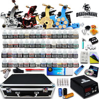Wholesale Tattoos Sets - Complete Tattoo kit 4 Machine Guns 56 Color Inks Power Supply 50 Needles Set D176GD Free Shipping