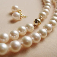 """Wholesale golden akoya pearls - Genuine Natural 8-9MM White Akoya Pearl Necklace + Earrings Set AAA 18"""""""