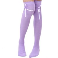 Wholesale Womens Hosiery Thigh High - Wholesale- Womens Over the Knee Girls Sexy Cotton High Thigh High Hosiery Stockings Ribbon Bowknot Chaussette Meia #OR
