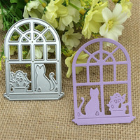 Wholesale Family Photos - Window sill cat flowerpot family Metal Cutting Dies Stencil Scrapbooking Photo Album Card Paper Embossing Craft DIY