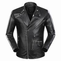 Wholesale Leather Jackets Punk Style Men - SS17 Tide Brand Fashion Celebr Desinger Faux Leather Punk jacket brand P9076 Coats PU Leather Slim fit Sporty Style Men Casual Jacket M-3XL