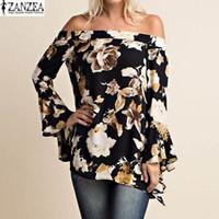 Wholesale Shirt Frill - ZANZEA 2017 Boho Womens Floral Off Shoulder Irregular Peplum Frill Sexy Long Sleeve Loose Blouses Tops Shirt