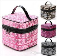 Wholesale Leopard Bag Pink - PINK Cosmetic Bags VS Pink Make Up Cases VS Makeup Box Secret Travel Pouch Fashion VS Toiletry Pink Letter Organizer Leopard Handbags B2044