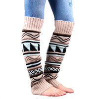 Wholesale Wool Thick Leggings - Wholesale- New women fashion leg warmers autumn and winter camouflage Bohemia thick wool piles Ms. spell color boots Leggings set