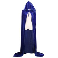 Wholesale Woman Ghost Costume - Adult Witch Long Halloween Cloaks Hood and Capes Halloween Costumes for Women Men Cosplay Costumes Velvet Cosplay Clothing