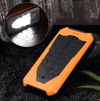 Wholesale External Battery Light - 12000mAh Solar Power bank Charger External Battery Pack led light Power Bank Dual USB Powerbank with LED camping Light