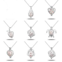 Wholesale Gold Plated 18 Inch Chains - White Gold Pearl Cage Pendant Necklace Hollow Love Heart Necklaces With Oyster Pearl 18 Inches Link Chain