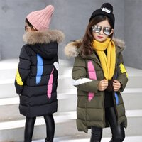 Wholesale Snow Coat For Kids - 2017 New Winter Warm Jacket For Girls Kids Hooded Snow Wear Cotton-padded Down Jacket Girl Casual Winter Outerwear Long Coats