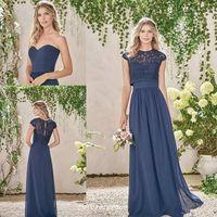 vestidos de novia oscuros azul marino al por mayor-Elegante, barato, azul marino, largo, vestidos de dama de honor, dos piezas, encaje, dama de honor, vestido de boda, vestido de invitado, tamaño personalizado