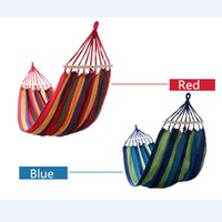 Wholesale Garden Furniture Swings - Wholesale- Thick Canvas Portable Parachute Single Hammock Garden Outdoor Camping Travel Furniture Hammock Swing Leisure Sleeping Bed Tools