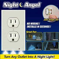 Wholesale Safety Plug Covers - LED Sensor Light Night Angel LED Plug Cover Snap On Wall Outlet Coverplate Kitchen Hallway Emergency Safety Lamps LJJO2208