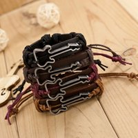 Wholesale Leather Bracelet Rock Style - Wholesale-High Quality Cowhide Bracelet Jewelry Adjustable Bangles Waxed Cord Rock Style Antique Silver Plated Guitar Charm Bracelets