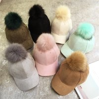 Wholesale New Stylish Girls - New Stylish Adjustable Womens Unisex Fur Pom Pom Suede Baseball Cap Hip Hop Girls Hat A383