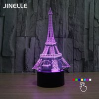 Wholesale 3d Eiffel Tower Decor - Wholesale- 3D USB Illusion Eiffel Tower Table Decorations LED Desk Lamp Novelty Gifts for Kids Home Decors