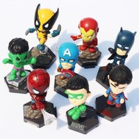 Marvel The Avengers Superheroes Toy Figure Capitaine American Hulk X-men Spiderman PVC Action Figure Jouets 8pcs / set Livraison gratuite