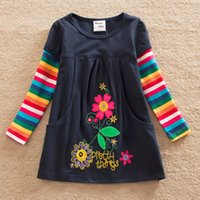 Wholesale Thin Sleeve For Dresses - Spring Girls Dress Flower Embroidery Cotton Dresses For Girls Colorful Child Clothes Infant Princess Long Sleeve Kids Costumes