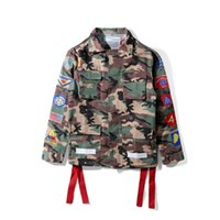 Wholesale Denim Shirt Hoodie - New OFF WHITE Bibo Camouflage Flocking Striped Hoodie Jacket Shirt Loves long Sleeve Shirt Jacket Chaqueta Hombre Kanye West