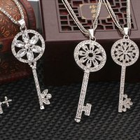 Wholesale Cheap Silver Rhinestones Bulk - 15 Style Mix New Brand Style Silver Plated Crystal Pave Key Pendants Necklace Charms Hollow Out Jewelry DIY Wholesale in Bulk Cheap Price