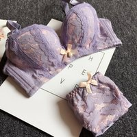 Wholesale Young Lingerie Panties - Wireless lace bra set for small chest AB cup fashion women lingerie set sexy young girl bowknot push up underwear and panties