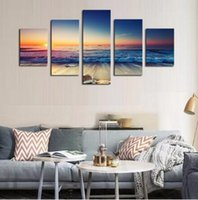 Wholesale Abstract Ocean Art Canvas - 5, free shipping, wall art of painting canvas, digital painting ocean scenery, home decorative painting (no frame)