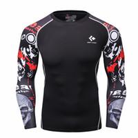 Wholesale Mens Tighter Fitting Shirts - Wholesale- Men Compression Shirts MMA Rashguard Keep Fit Fitness Long Sleeves Base Layer Skin Tight Weight Lifting Elastic Mens T Shirts