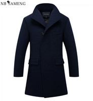 Wholesale Wool Single Breasted Coat Mens - Wholesale- New Man Long Trench Coat Wool Coat Winter Peacoat Men's Wool Coat Mens Overcoat Men's Coats Male Clothing M-2XL 13W0270