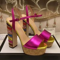 Wholesale High End Women Shoes - New Arrival Fashion Summer Rainbow Chunky high heel lady Sandals with top quality Luxury brand High-end genuine leather women party shoes