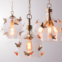 Wholesale Kids Butterfly Lamp - BE53 American Retro Simple Balcony Corridor Chandeliers Bedroom Restaurant Butterfly Kids Room Girl Princess Pendant Lamps Lights Lighting