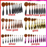 Wholesale Set Up Boxes Wholesale - 10pcs set 6pcs 5pcs sets Tooth Brush Shape Oval Makeup Brush Set Professional Foundation Powder make up brushes with retail box