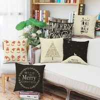 Wholesale Deer Art - Christmas pillowcase Snowflake deer printing literature and art Pillow case Office sofa cushion cover Household pillow cushion IA918