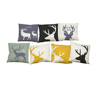 Wholesale modern green pillow - Modern Simple Antlers Linen Cushion Cover Home Office Sofa Square Pillow Case Decorative Cushion Covers Pillowcases Without Insert(18*18)