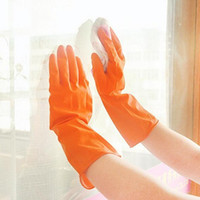 Wholesale long cleaning gloves - Thin Cleaning Glove Yellow Rubber Housework Mittens Non Slip Grain Design Eco Friendly Long Dish Washing Gloves Durable 0 92rr R