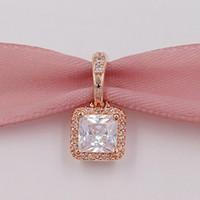 Wholesale 14k rose gold pendants online - 925 Sterling Silver Beads Timeless Elegance Pendant Fits European Pandora Style Jewelry Bracelets Necklace CZ Rose Gold Plated