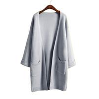 Wholesale Woman Navy Blue Cardigan - Wholesale-Autumn 2016 Girl Casual Long Knitted Cardigan Korean Women Pocket Design Loose Sweater Jacket Pink White Burgundy Navy blue