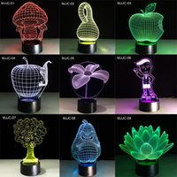 Wholesale Lamps For Wedding Table Decorations - LED Table Light 3D Night Light 27 style 3D Lamps LED Lighting Fashion Desk Lamp Colorful Desk Lamp for Decoration