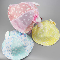 Wholesale Butterfly Buckets - Baby butterfly print mesh bucket hats 4colors mesh cotton ears bow splicing bonnets 50cm beach hat portable sunhats for 0-2T