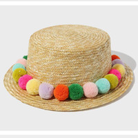 Wholesale Wholesale Seven Hats - Wholesale- 2016 New Seven Rainbow Colored Plush Ball Fashion Women's Sun Hats Hawaiian Vacation Leisure Sentiment Lovely Fresh Straw Hat