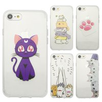 Wholesale Black Cat Paintings - For iphone 7 plus 6s plus Soft TPU transparent Case pet animal cat dog Painting protector funny silicon Cell Phone Cases