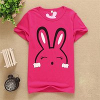 Wholesale Baby Shorts Pattern Free - 2017 New Clothes Children baby Boys Girls Print the rabbit pattern T Shirts Kids Baby Clothing Boys Girls Short Sleeve Tops free shipping