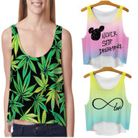 Wholesale Wholesale Rayon Shirts - Free Shipping Multicolor T-Shirts 3D Print Women Tank Tops & camis Printed Sleeveless Vest Girls Summer Short Crop Top Irregular