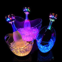 Wholesale Wholesale Bucket Led - 4L LED Light Ice Bucket Champagne Wine Beer Buckets Tub For Bar Club Party Plastic Ice Buckets Hotel Champagne Ice Bucket CCA6809 10pcs