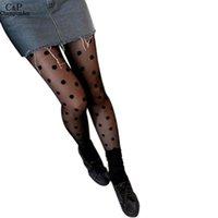 Wholesale Pantyhose Woman Dot - Wholesale- Sexy Stockings Stylish Women Tights Polka Dot Pattern Sexy Sheer Pantyhose Stockings Tights Slim 63