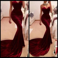 Wholesale Velvet Fitted Dresses - Vestidos De Formatura 2016 Free Shipping Mermaid Sweetheart Red Wine Long Burgundy Prom Dresses Evening Gowns Long Fitted Velvet